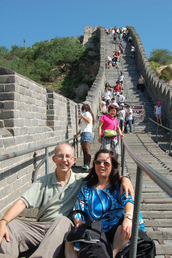 On the Great Wall of China Playing Tourist