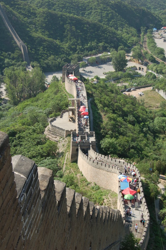 Looking Down the Great Wall Of China. Trying to imagine ancient Chinese soldiers in full battle dress patrolling.