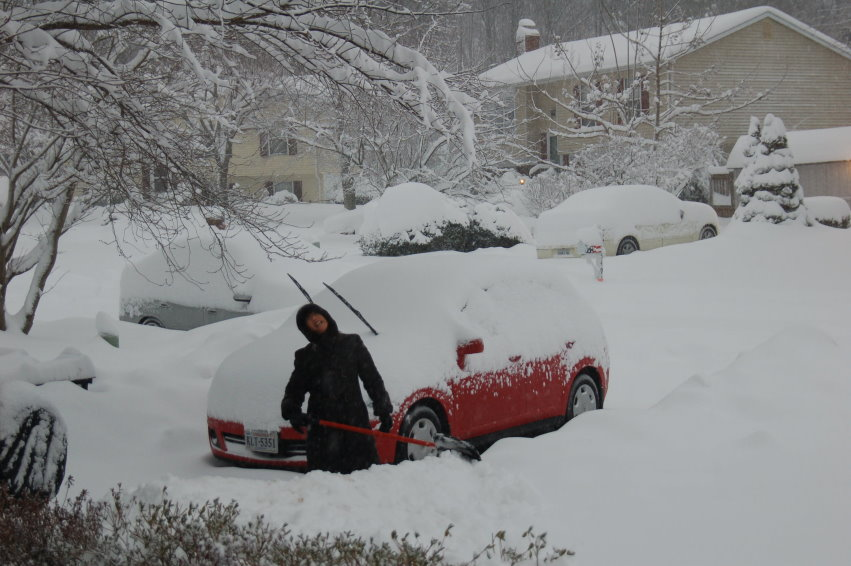 Winnie Digging Out Her Car