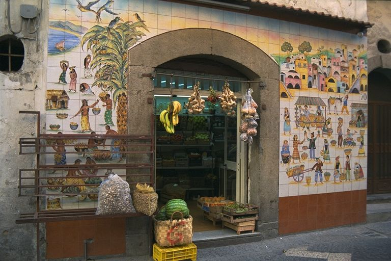 A Produce Shop in Sorrento Covered With Locally-Created Tile