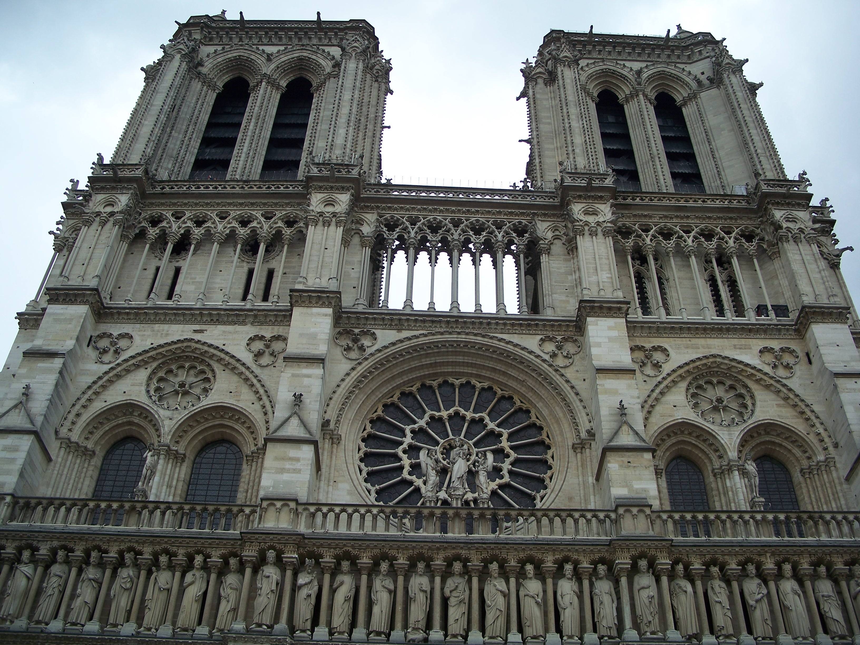 Looking Up at twin towers of the Notre Dame Cathedral, Paris