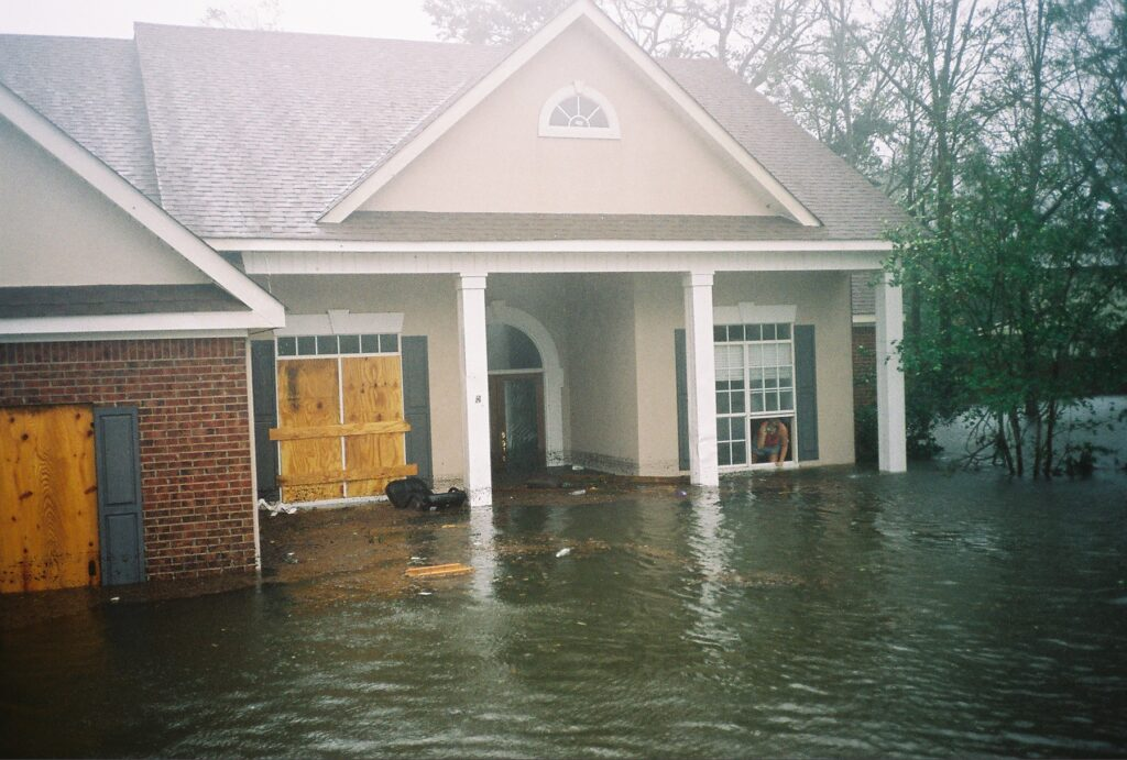 A partially flooded house at the peak of Hurricane Katrina Landfall