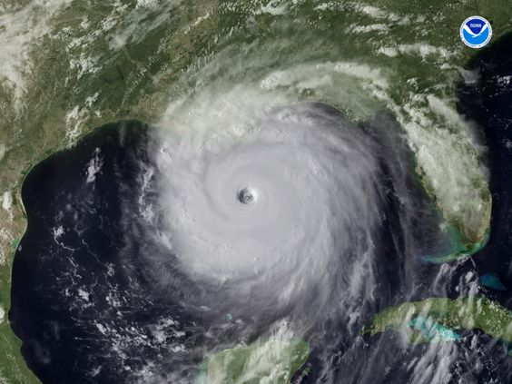NOAA Satellite Image of Hurricane Katrina making landfall on the Mississippi Gulf Coast.