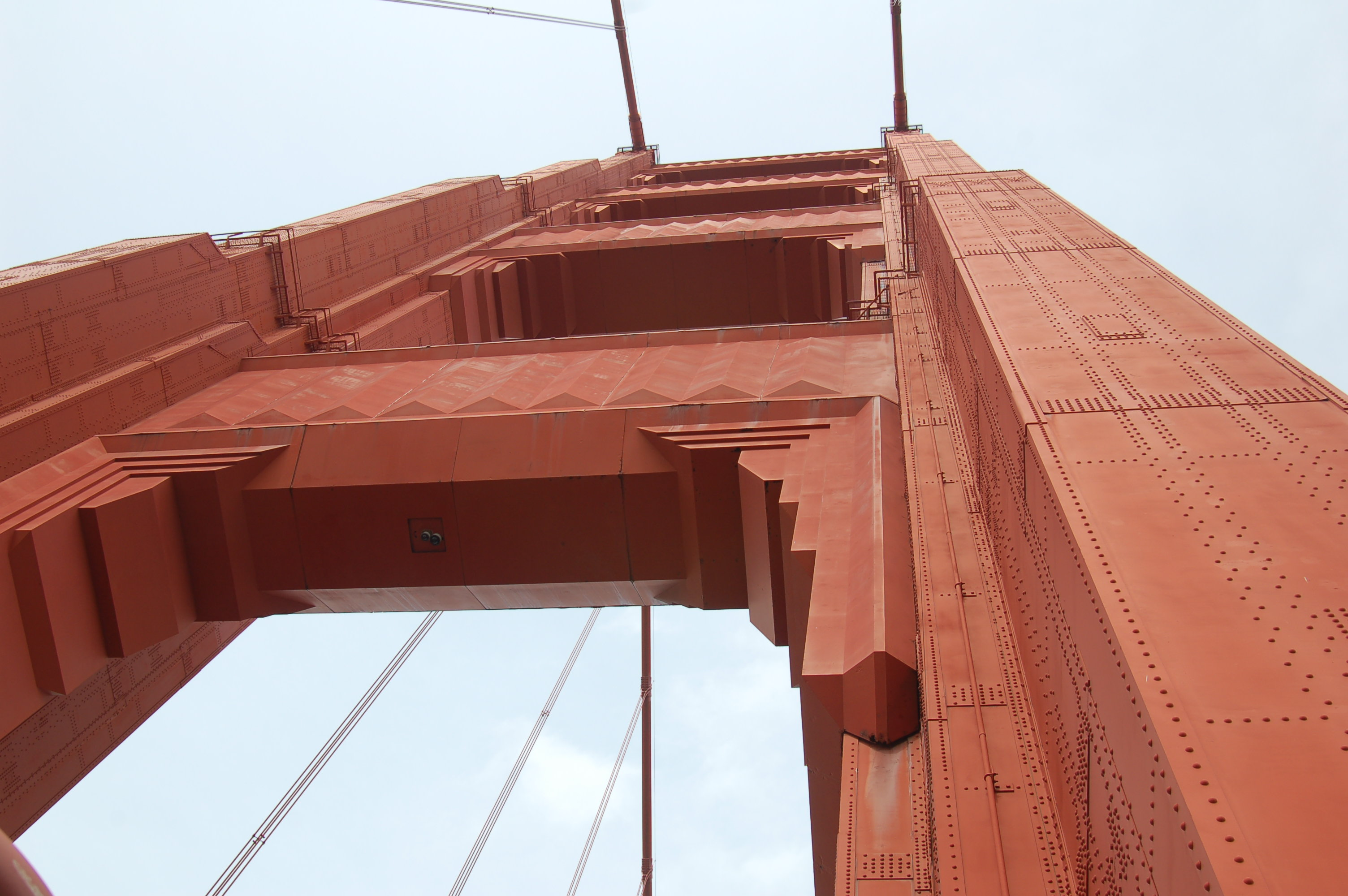 Looking up at the north tower of the Golden Gate Bridge, San Francisco, California