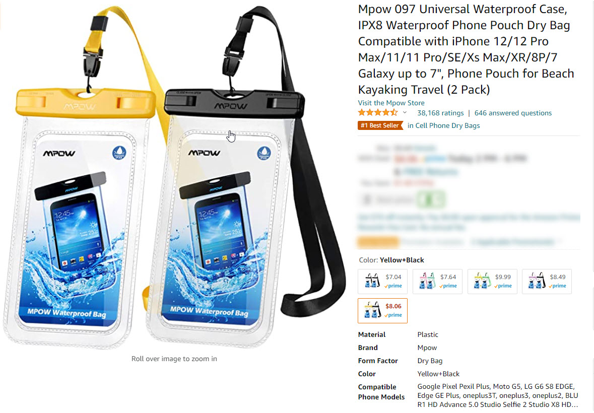 Amazon.com Listing for Cellphone Dry Pouches