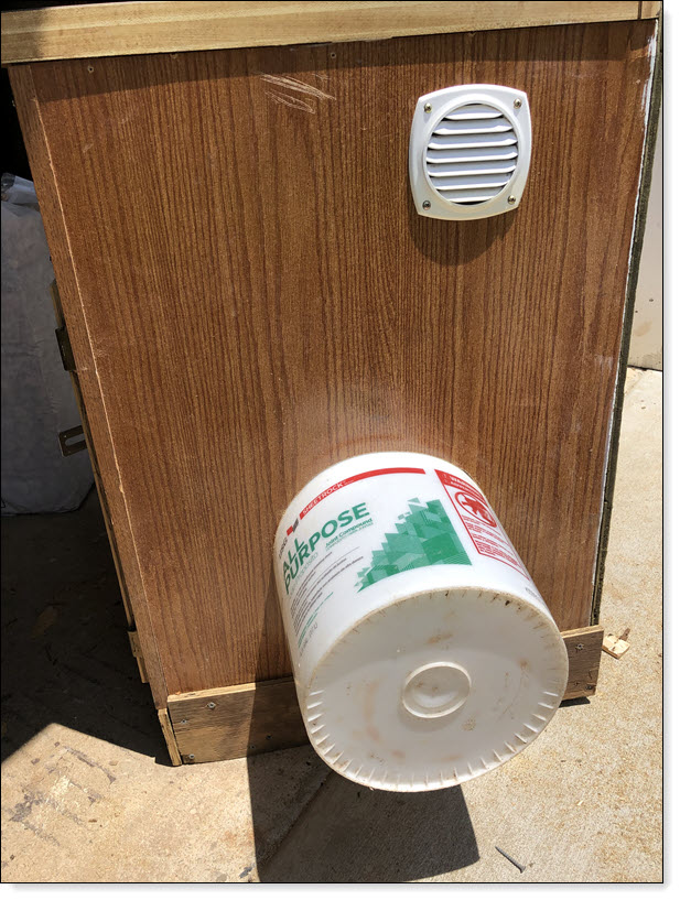 Bucket Nesting box and Vent Installed