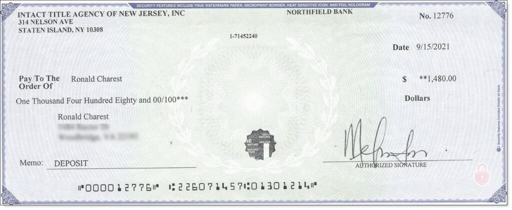 Not-Real Cashiers Check from Maybe Real Title Company