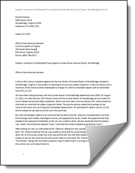 Virginia Attorney General Letter on Cowles Nissan